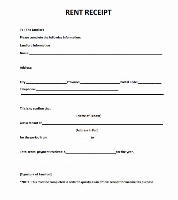 Printable Rent Receipt Template Awesome 6 Free Rent Receipt Templates Excel Pdf formats