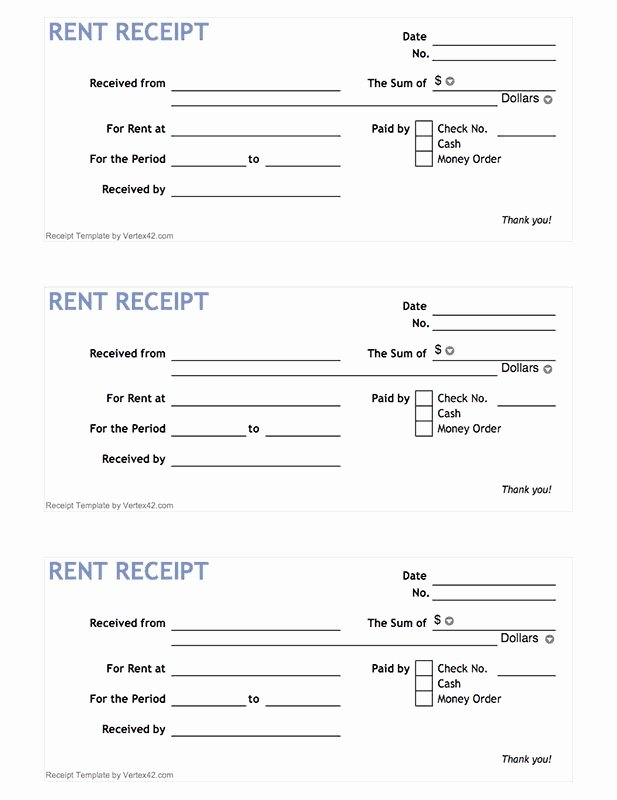 Printable Rent Receipt Template Luxury Free Printable Rent Receipt form Pdf From Vertex42