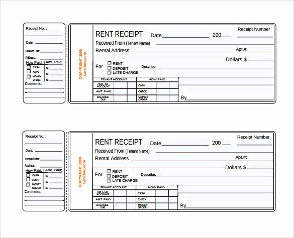Printable Rent Receipt Template New Rent Receipt Template 13 Download Free Documents In Pdf