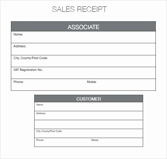 Printable Sales Receipt Pdf Luxury Free Sales Receipt form General Business Car Template