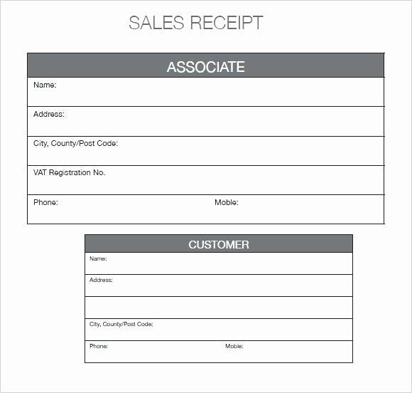 Printable Sales Receipt Pdf Luxury Free Sales Receipt form General Business Car Template