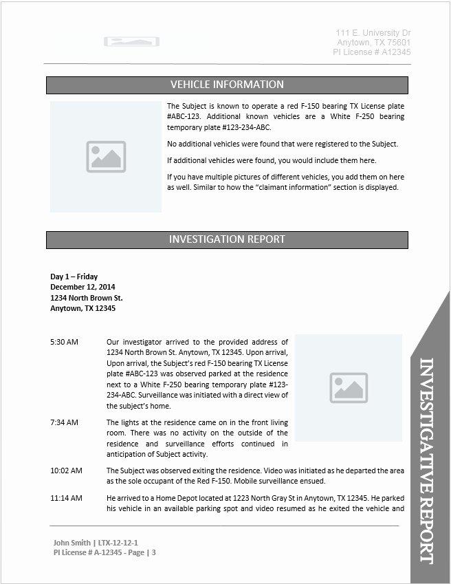 Private Investigator Contract Sample Beautiful Private Investigator Report Templates