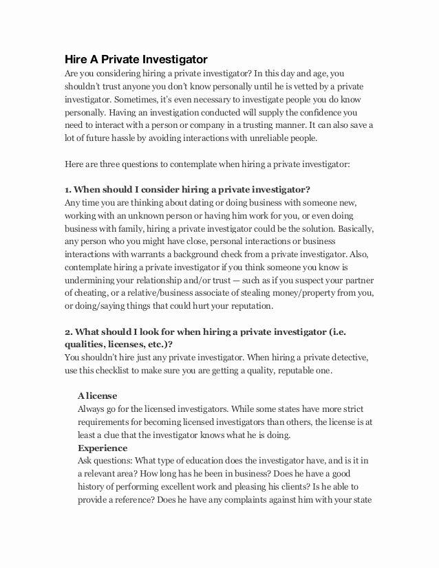 Private Investigator Contract Sample Elegant Hire A Private Investigator