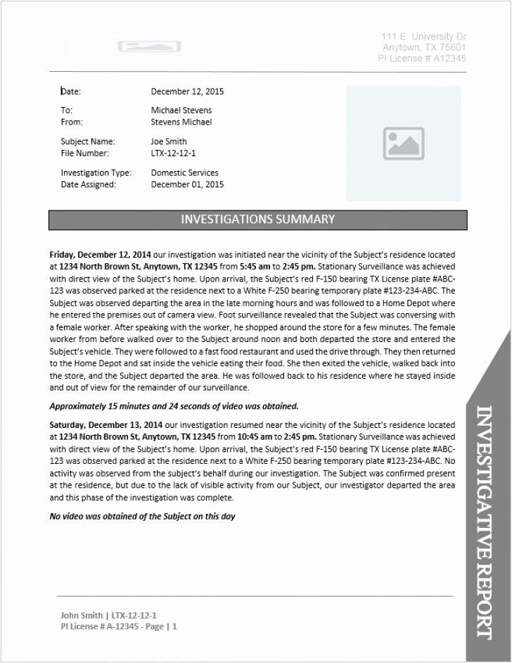Private Investigator Contract Sample New Private Investigator Invoice Template