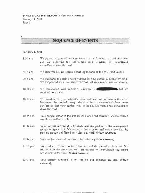 Private Investigator Contract Sample New Private Investigator Logs Of Von Jennings' whereabouts