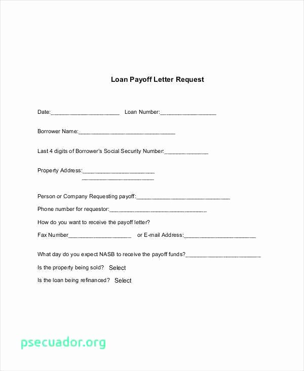 Private Mortgage Payoff Letter New Loan Payoff Letter Template