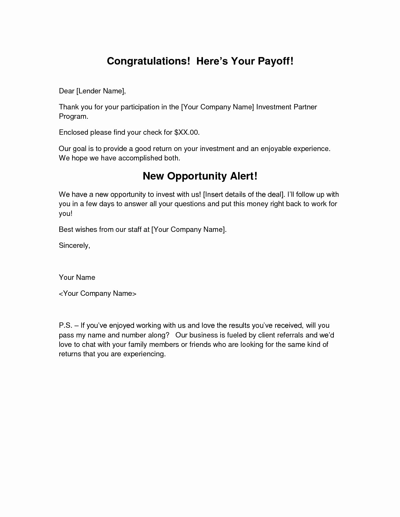 Private Mortgage Payoff Letter Template Beautiful Loan Payoff Letter Template Bluemooncatering