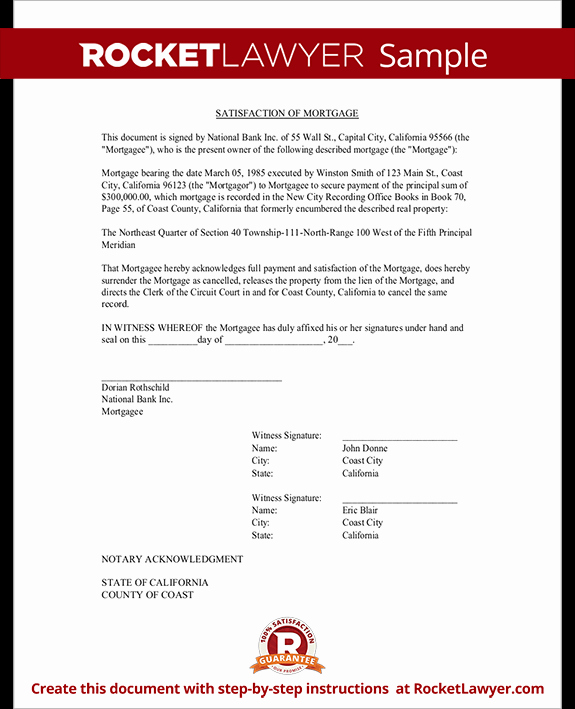 Private Mortgage Payoff Letter Template Best Of Satisfaction Of Mortgage form Release Of Mortgage