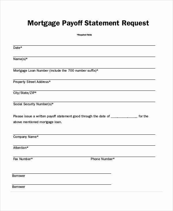 Private Mortgage Payoff Letter Template Fresh 50 Sample Statement forms