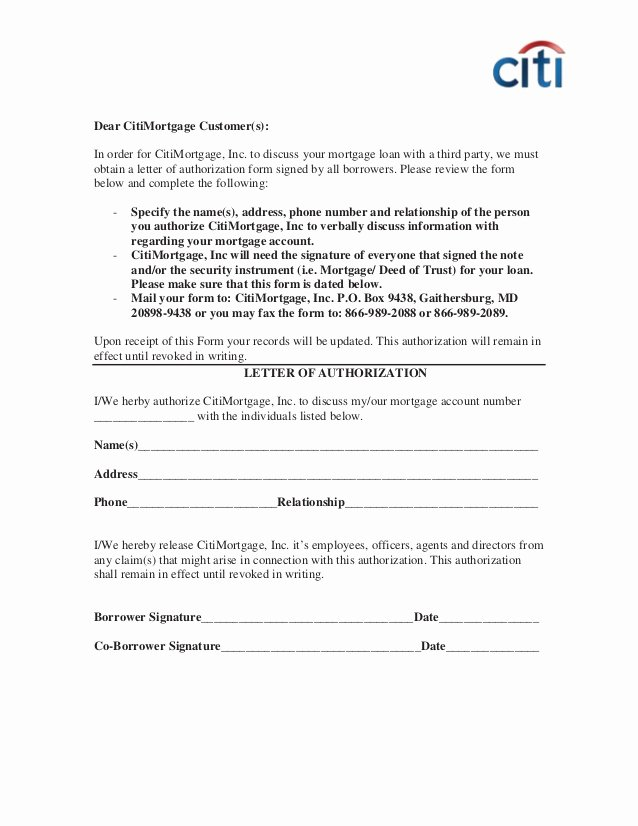 Private Mortgage Payoff Letter Template New Revised Citi 3rd Party Autho