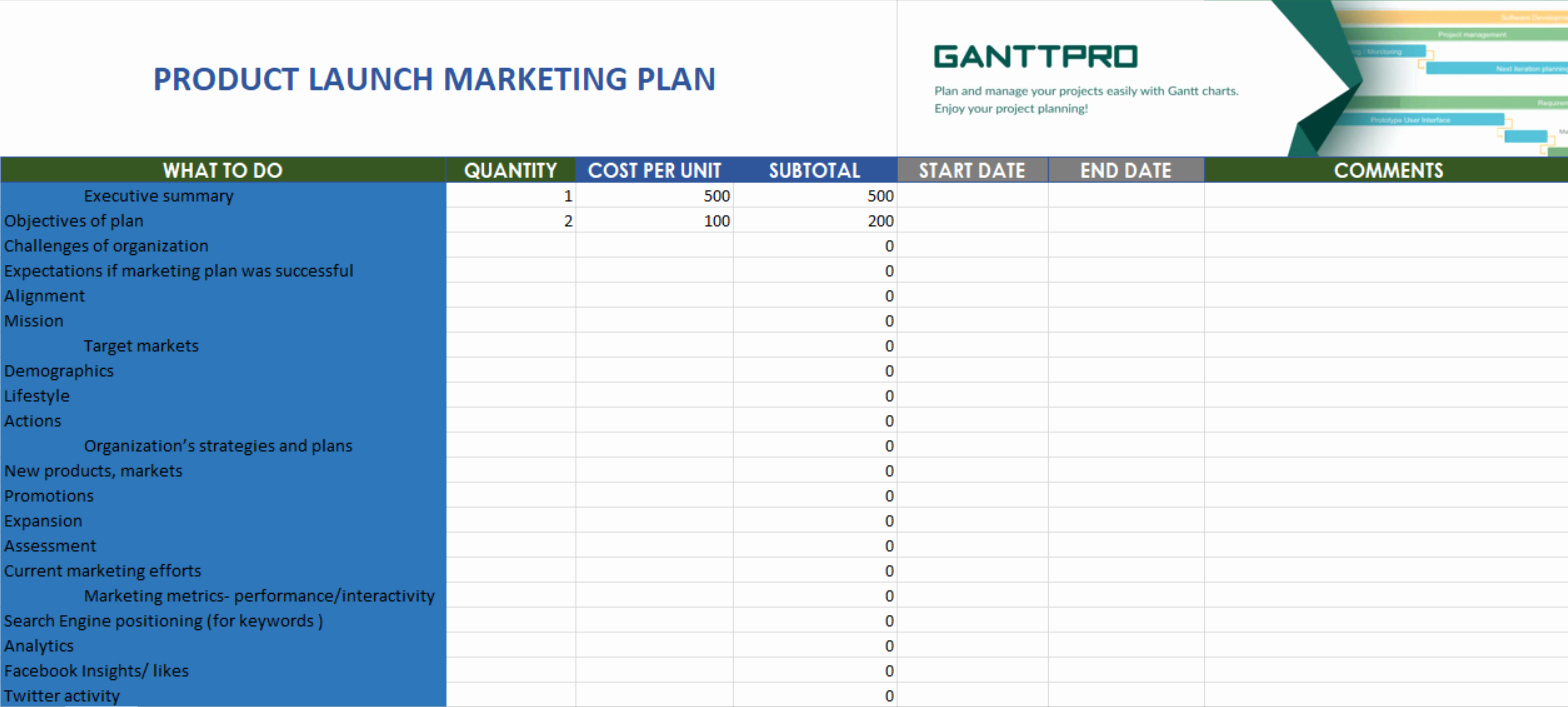 Product Launch Plan Template Awesome Product Launch Marketing Plan Free Download
