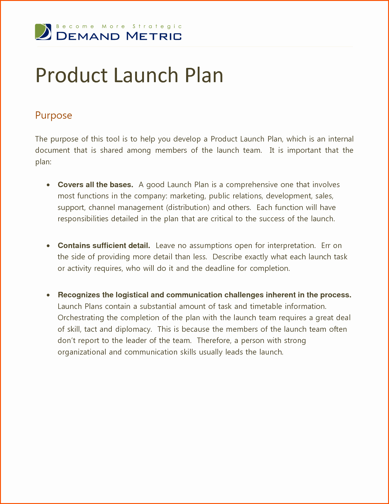 Product Launch Plan Template Inspirational Product Launch Plan Templatememo Templates Word