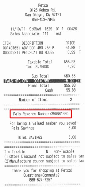 Product Purchase Receipt Number Awesome Pet Supplies Pet Food and Pet Products From Petco