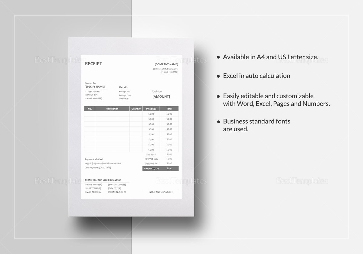 Product Purchase Receipt Number Beautiful Printable Receipt Template In Word Excel Apple Pages