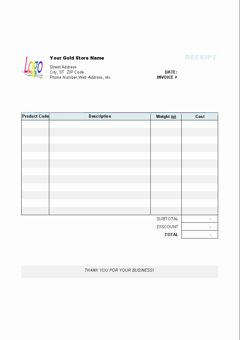 Product Received for Free Unique Gold Shop Receipt Template Invoice Manager for Excel
