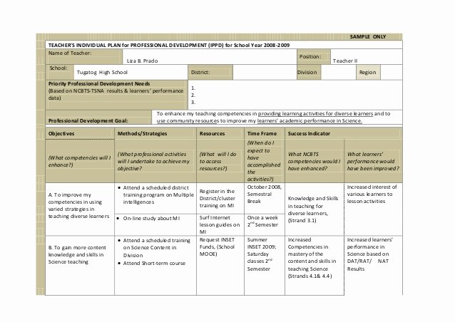 Professional Growth Plan Template Awesome Ippd for Teachers