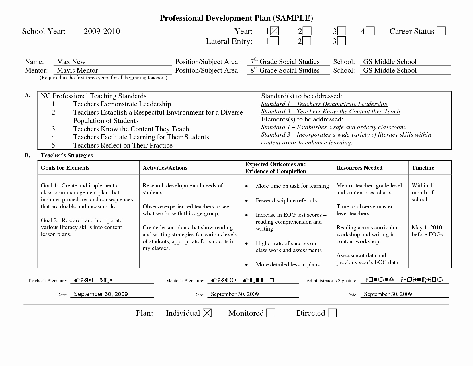 Professional Growth Plan Template Fresh Professional Learning Plan Examples Google Search