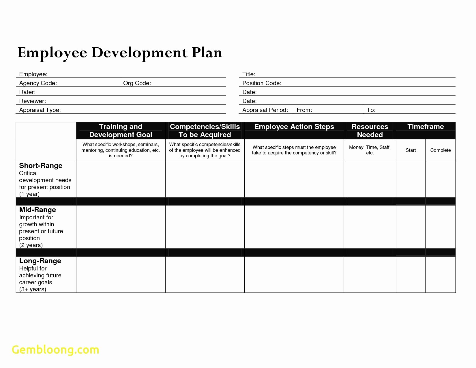 Professional Growth Plan Template New Employee Professional Development Plan Template Tripdrip