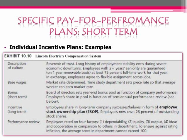 Profit Sharing Bonus Plan Template Inspirational Pay for Performance Plan