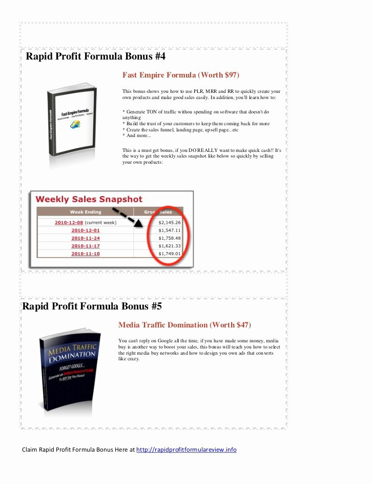 Profit Sharing Bonus Plan Template New Rapid Profit formula Bonus