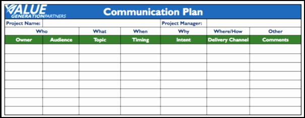 Project Communication Plan Template Elegant Project Management – Page 4 – Value Generation Partners Vblog