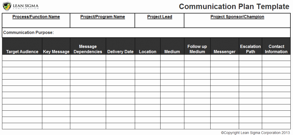 Project Communication Plan Template Excel Elegant Free Six Sigma tools and Templates Instant Downloads