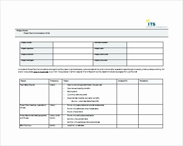 Project Communication Plan Template Excel Inspirational Munication Template Example Munication Munication