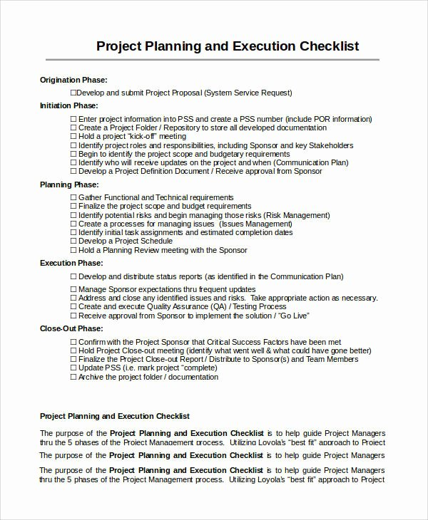 Project Execution Plan Template Elegant 10 Project Checklist Samples & Templates – Pdf Word