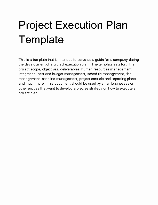 Project Execution Plan Template Elegant Wel E to Docs 4 Sale