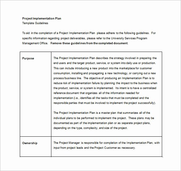 Project Implementation Plan Template Best Of 12 Implementation Plan Templates – Free Sample Example