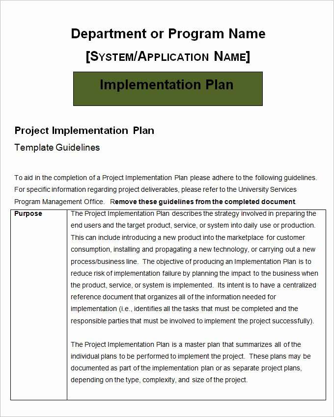 Project Implementation Plan Template Inspirational Project Implementation Plan Template 6 Free Word Excel