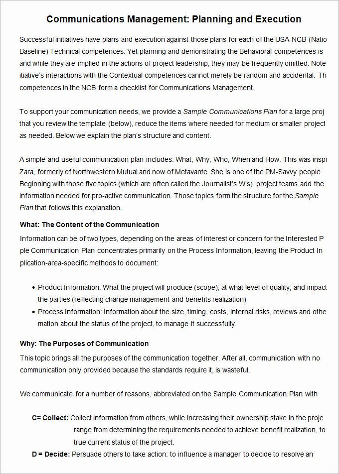 Project Management Communication Plan Template Fresh 10 Project Management Munication Plan Templates