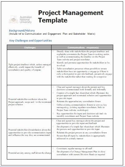 Project Management Communication Plan Template Inspirational Project Management Templates