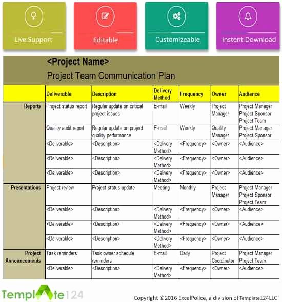 project team munication plan template excel