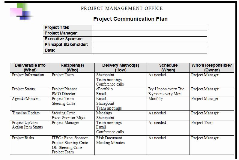 Project Management Communication Plan Template Luxury Munication Plan Template