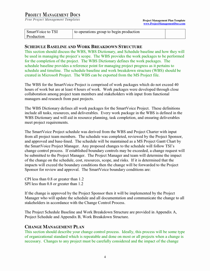 Project Management Plan Template Word Inspirational Project Management Plan Template In Word and Pdf formats