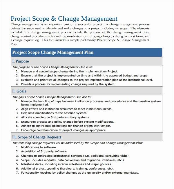 Project Management Plan Template Word Unique Sample Change Management Plan Template 13 Free