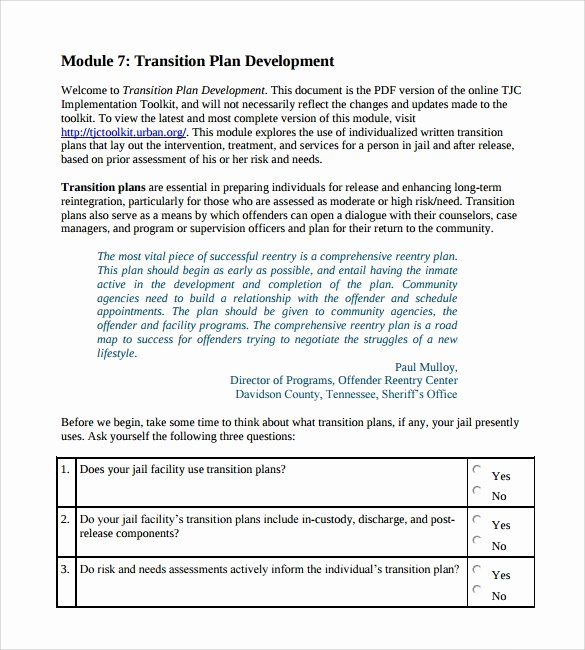 Project Management Transition Plan Template Inspirational Transition Plan Template 9 Download Documents In Pdf