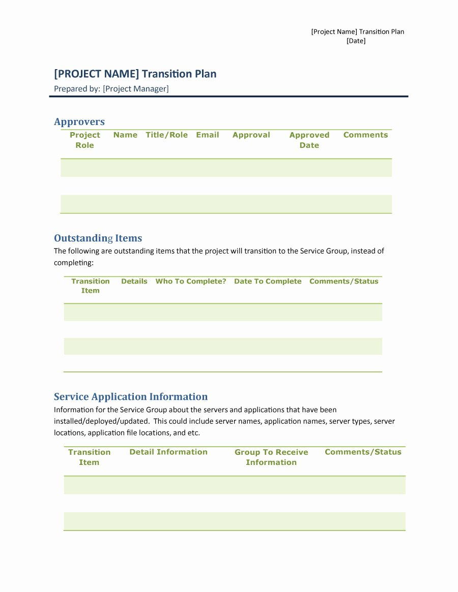 Project Management Transition Plan Template Lovely 40 Transition Plan Templates Career Individual