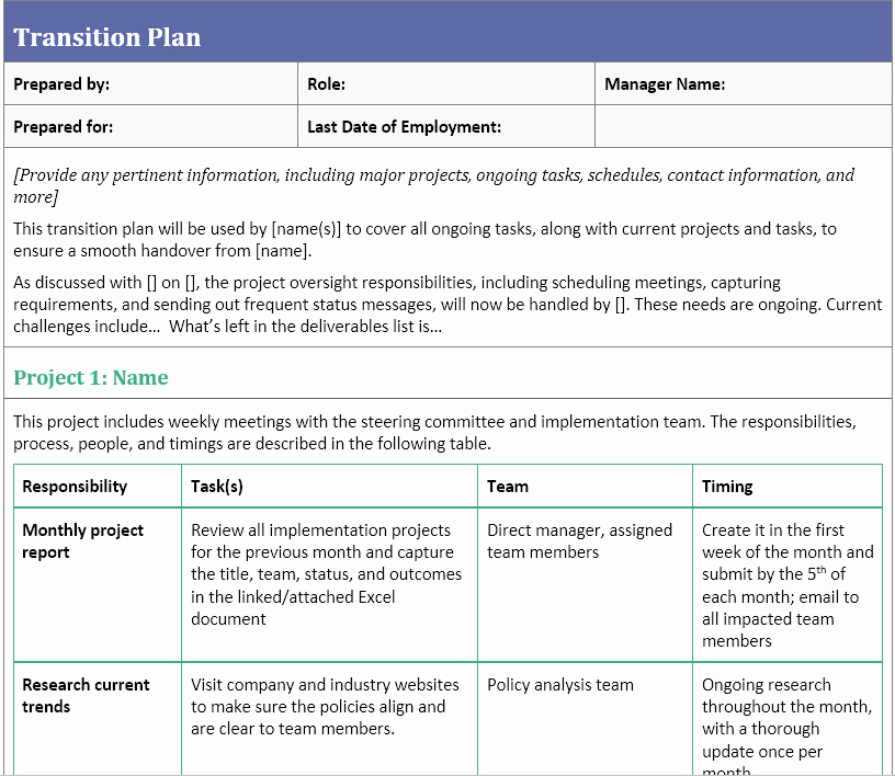 Project Management Transition Plan Template New Transition Plan Template for when You Ve Resigned