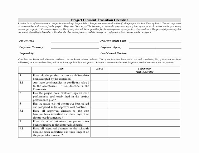 Project Management Transition Plan Template Unique Project Closeout Transition Checklist