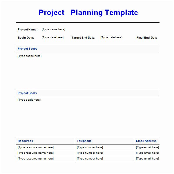 Project Plan Template Word Lovely Project Planning Template 4 Free Download for Word