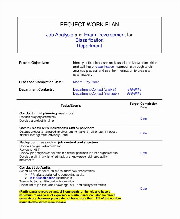 Project Work Plan Template Lovely 8 Sample Work Plans