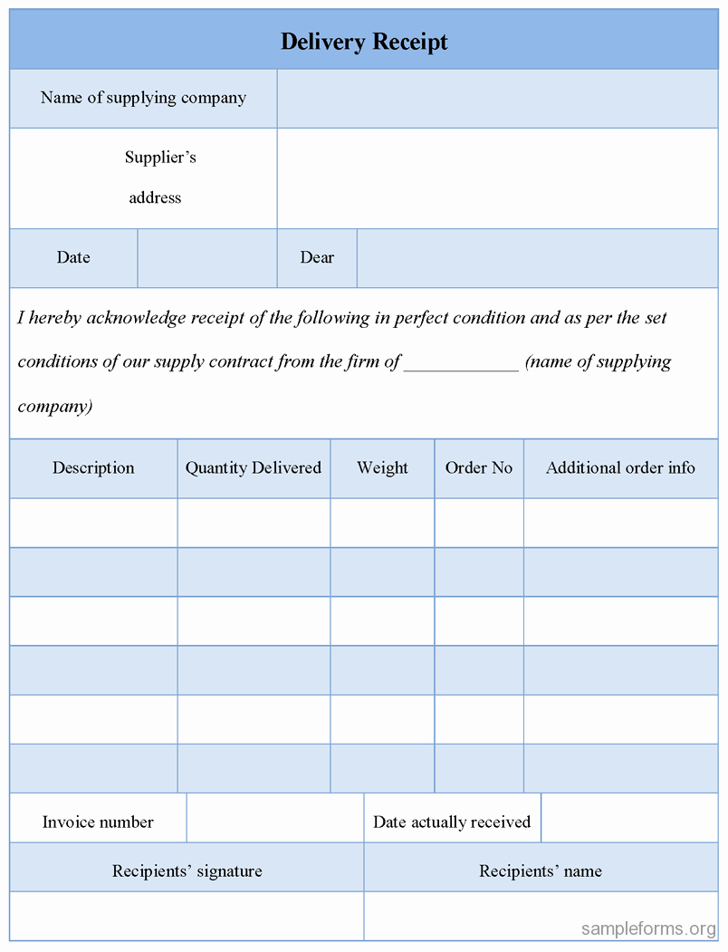 Proof Of Delivery Template Best Of Delivery Receipt form Sample forms