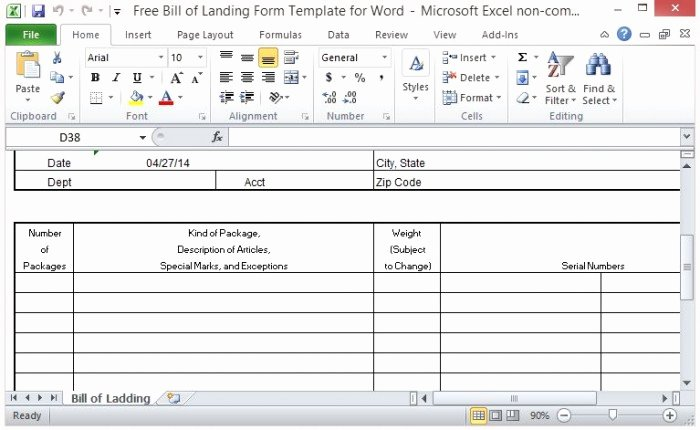 Proof Of Delivery Template Fresh Free Bill Of Lading form Template for Excel