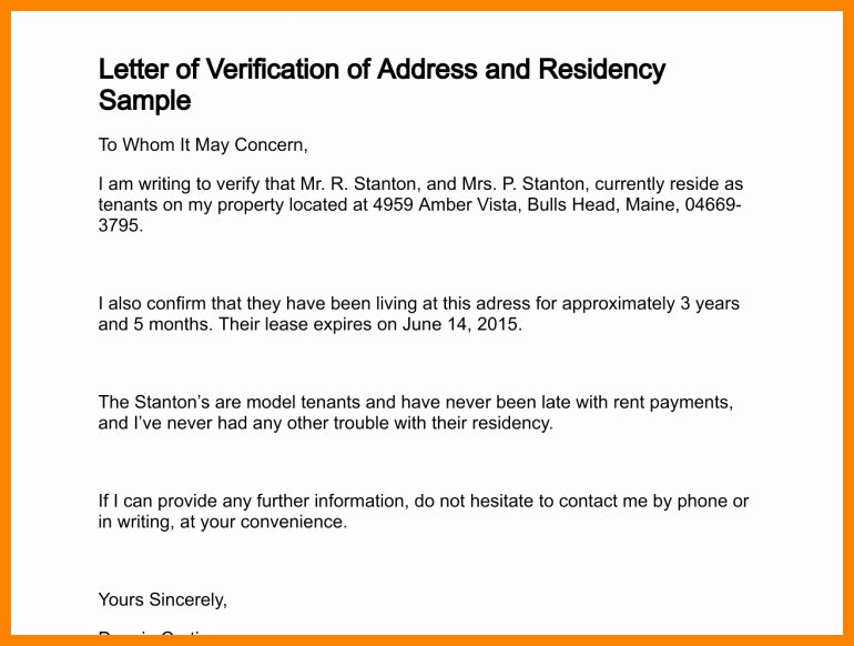 Proof Of Domicile Letter Awesome Residency Verification Letter Letter Of Re Mendation