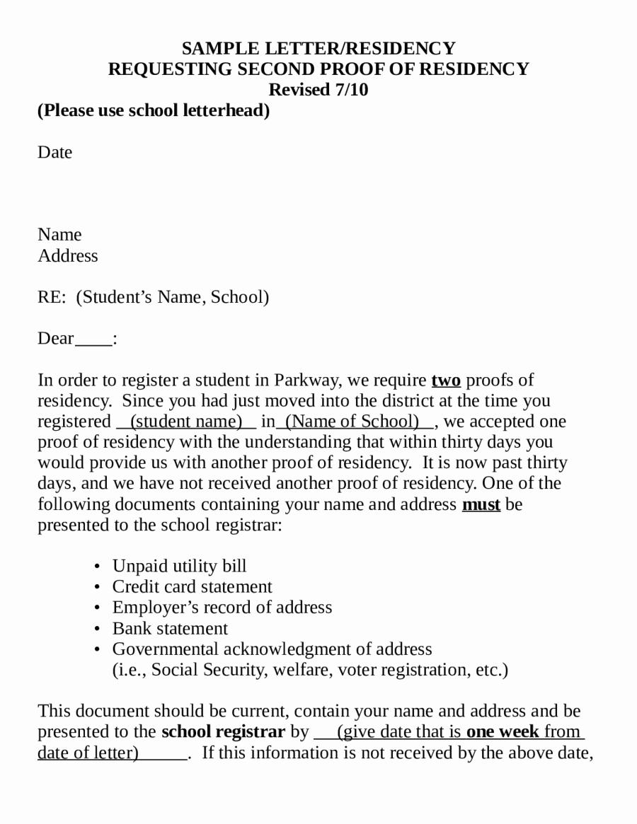 Proof Of Domicile Letter Best Of 2019 Proof Of Residency Letter Fillable Printable Pdf
