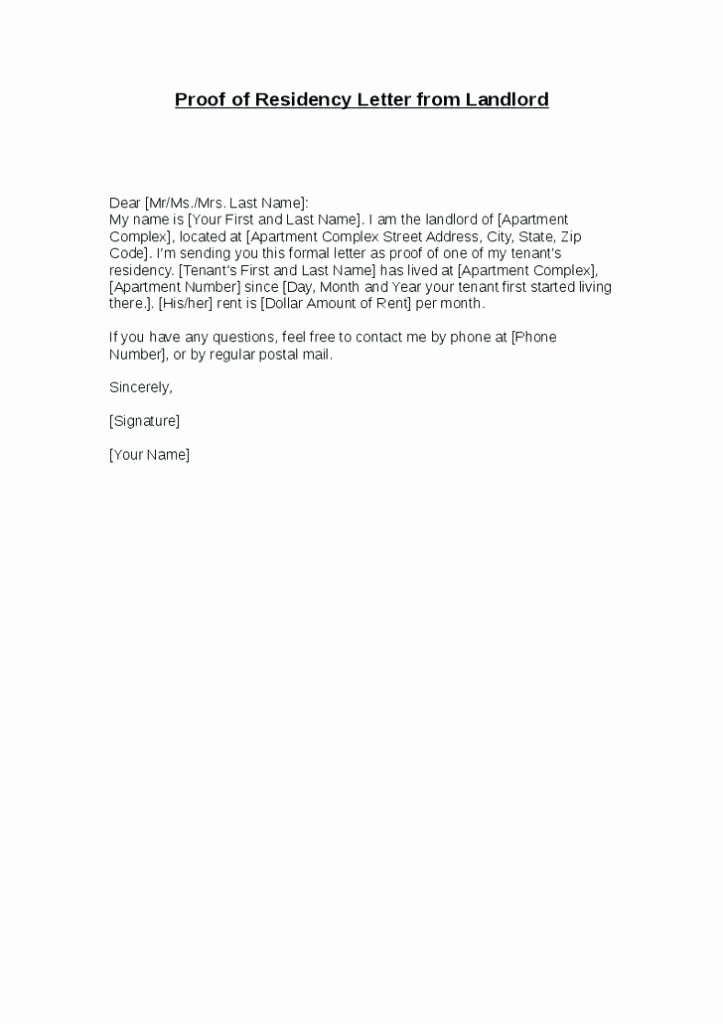 Proof Of Domicile Letter Sample New Confirmation Residency Letter Template