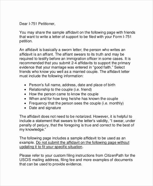 Proof Of Marriage Letter for Immigration Lovely 12 Affidavit Samples Doc Pdf