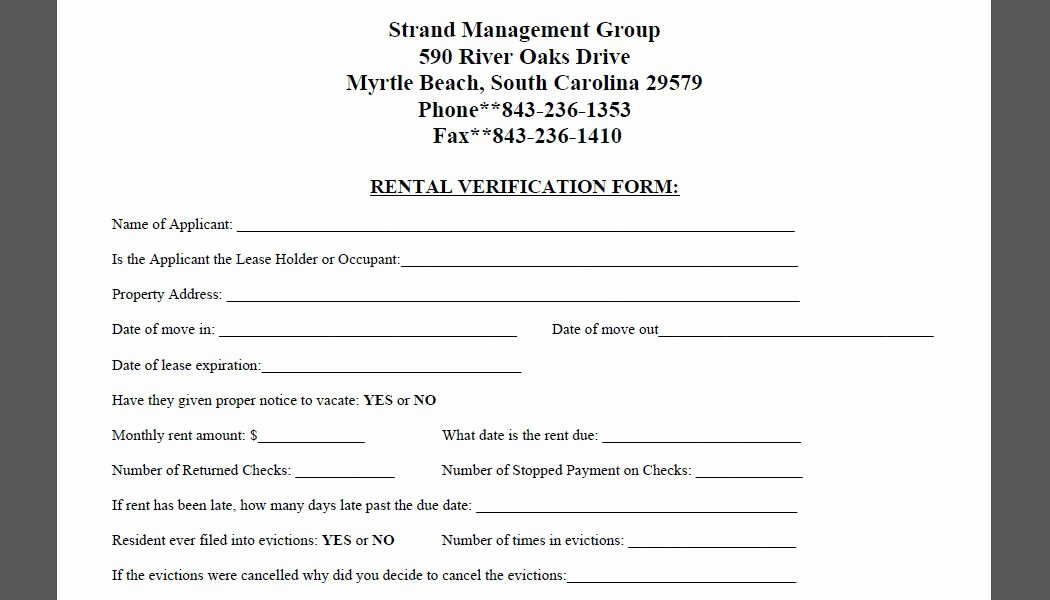Proof Of Payment form New Printable Sample Rental Verification form form